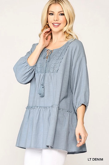 The Karolina Lace & Tassel Tunic Top