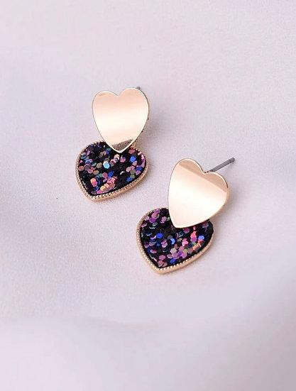 Sequin Heart Earrings