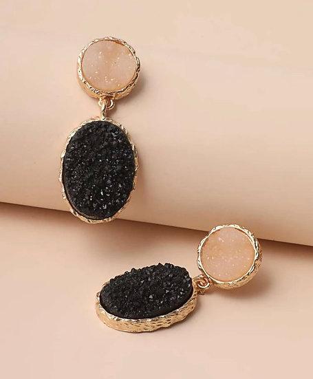 Black Stone Oval Earrings