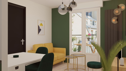 Visuel 3d- Salon/séjour d'un appartement