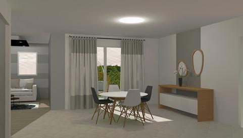Visuel 3d- Salon/séjour d'une maison neuve
