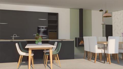Visuel 3D - cuisine et séjour