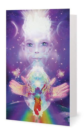 Rainbow Child, Greetings Card with Sparkles