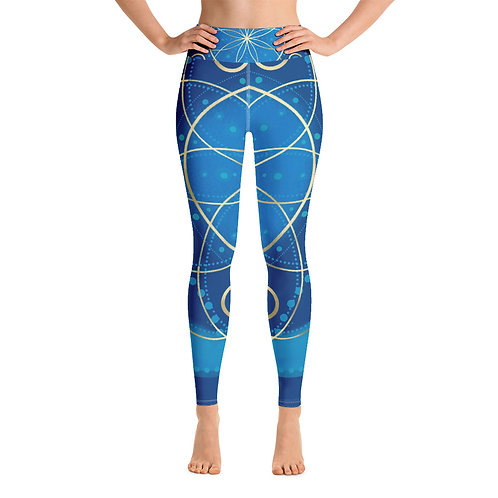 Midnight Ocean Ray Chakra Yoga Leggings