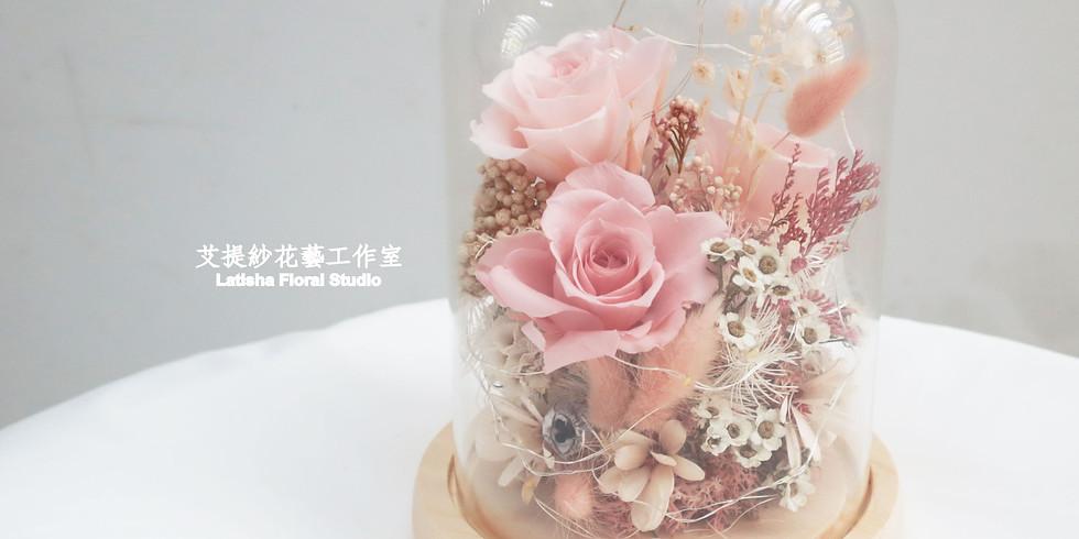 永生玫瑰花混乾燥花花盅