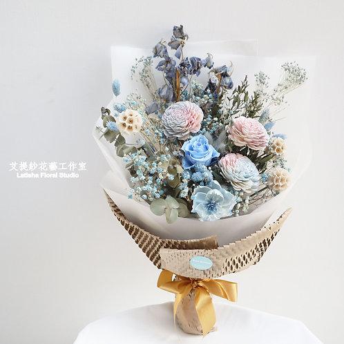 永生玫瑰花混乾燥花束-蔚藍