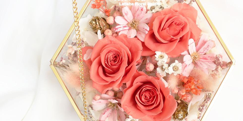 永生玫瑰花混乾燥花 六角玻璃珠寶盒教學課程