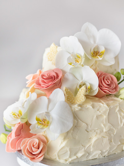 Orkidé bryllupskage