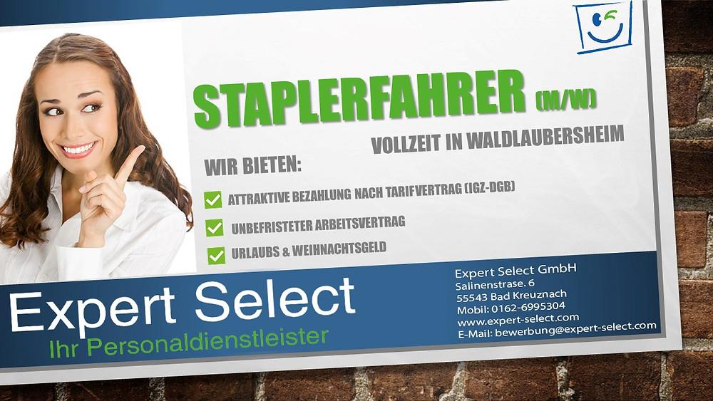 Expert Select GmbH Bad Kreuznach - Staplerfahrer Waldlaubersheim Vollzeit