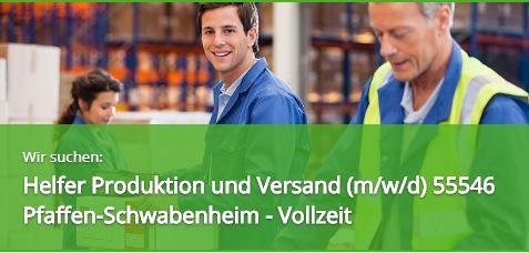 Helfer Produktion Versand 55546 Pfaffen-Schwabenheim Vollzeit Stellenangebot Stellenanzeige Job Jobs Expert Select GmbH 55411 Bingen