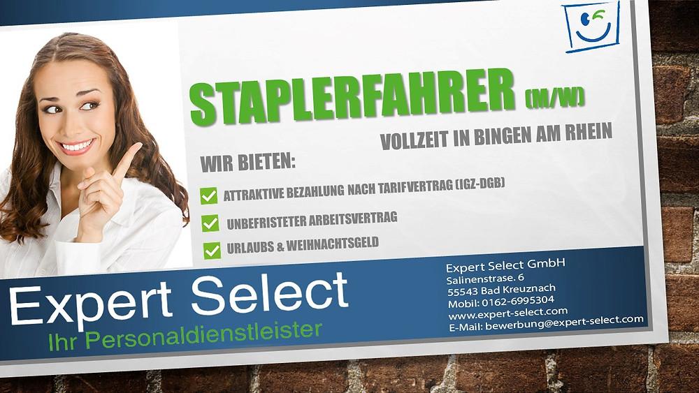Expert Select GmbH Bad Kreuznach; Staplerfahrer Bingen am Rhein - Vollzeit Zeitarbeit Zeitarbeitsfirma