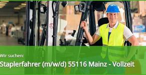 Staplerfahrer (m/w/d) in 55116 Mainz am Rhein Vollzeit - Schubmast TOP Stellenangebot und Job
