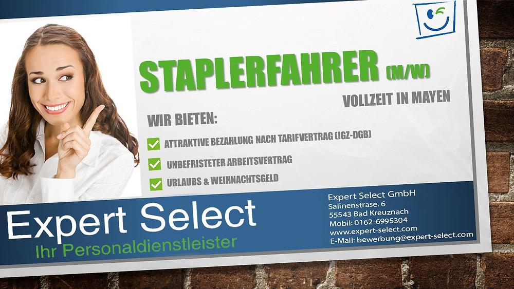 Expert Select GmbH Bad Kreuznach - Staplerfahrer Mayen Vollzeit - Zeitarbeit Zeitarbeitsfirma Personaldienstleister