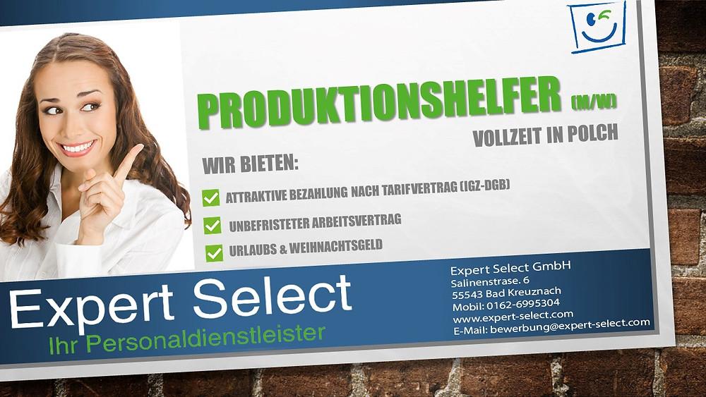 Expert Select GmbH Bad Kreuznach - Produktionshelfer Vollzeit Polch