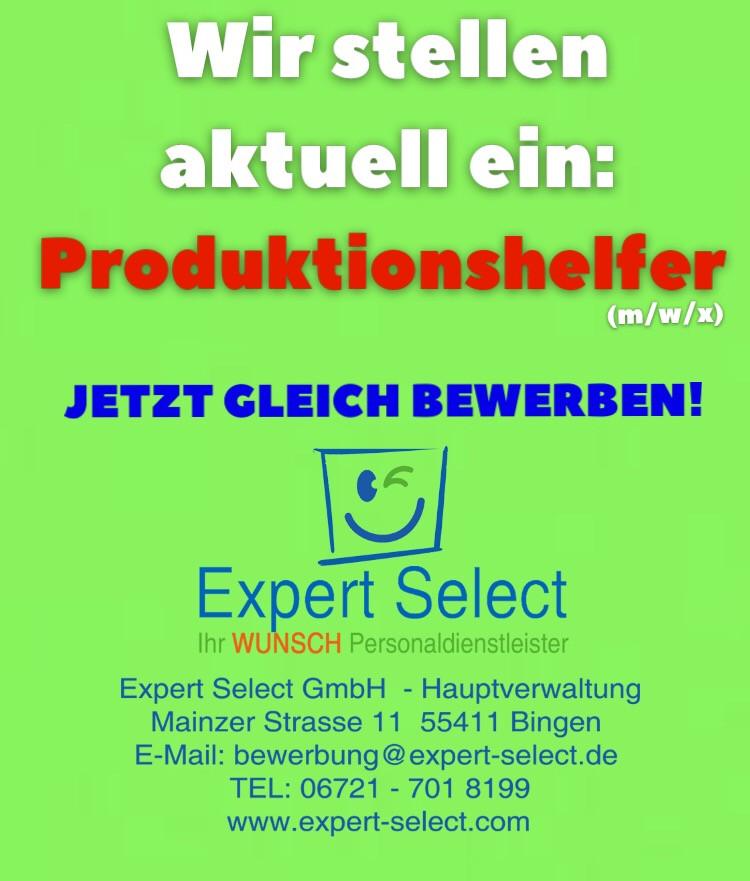 Expert Select 55411 Bingen 55257 Budenheim Zeitarbeitsfirma Personaldienstleister 55543 Bad Kreuznach - Job Vollzeit Helfer Produktion 56291 Pfalzfeld Simmern Personaldienstleister