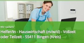 Helfer Hauswirtschaft (m/w/d) - Vollzeit oder Teilzeit im Kreis 55411 Bingen. JETZT BEWERBEN!