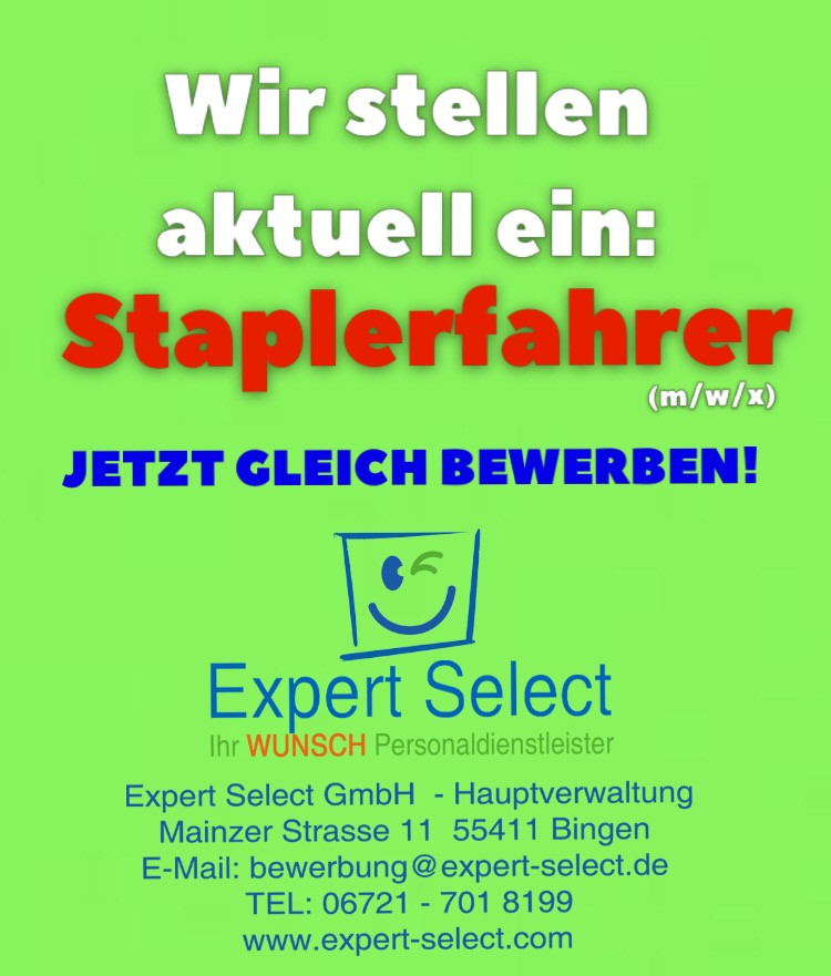 Staplerfahrer (m/w/x) in 55411 Bingen am Rhein - Die Besten Vollzeit Jobs nur bei Expert Select! Ihr WUNSCH Personaldienstleister in Bingen und Bad Kreuznach Zeitarbeitsfirma Vollzeit Stellenanzeige