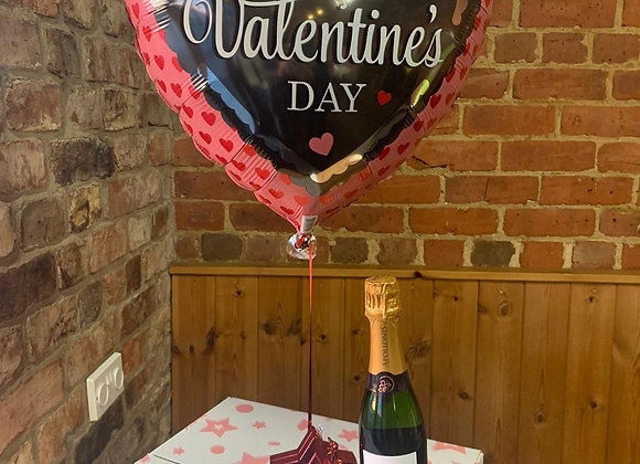 Valentines Helium Balloon in a box and Half Bottle Champagne
