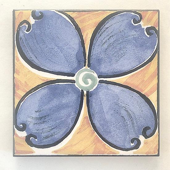 "4 1/4"" Blue Gothic Decorative Ceramic Tile A7"