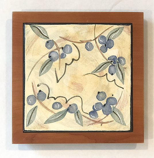 Blueberry Tile and Wood Frame
