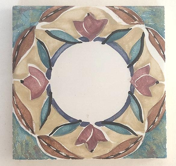 "4 1/4"" floral Round Decorative Ceramic Tile A1"
