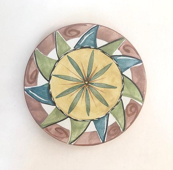 "6"" Round Pinwheel Decorative Ceramic Tile A1"