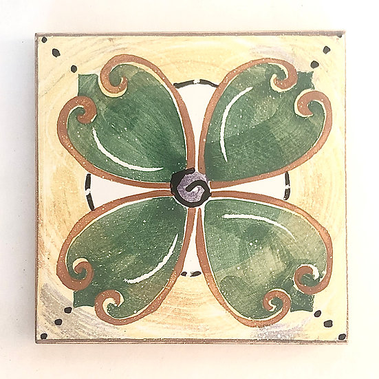 "4 1/4"" Rosette Forest Decorative Ceramic Tile A2"
