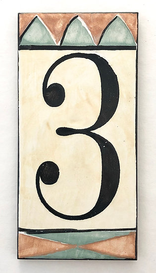 """3"""" x 6"""" Pale Yellow House Number """"3"""""""