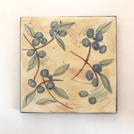"6"" Square Blueberries Decorative Ceramic Tile"