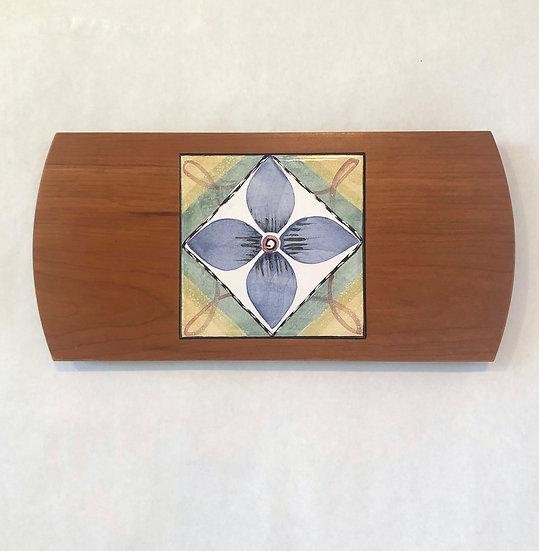 Blue Flower Wood & Tile Serving Board