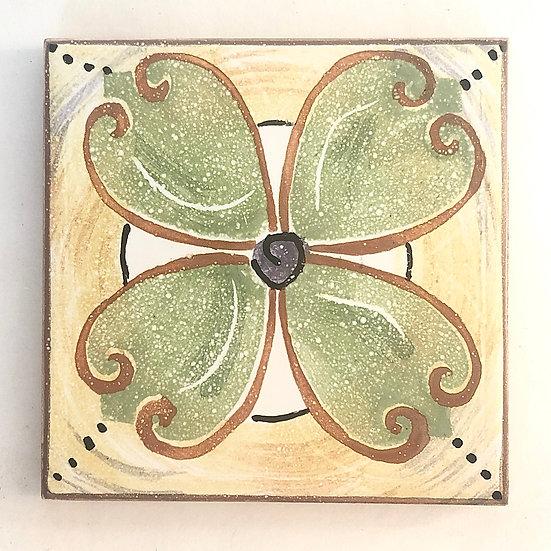 "4 1/4"" Rosette pale green Decorative Ceramic Tile B2"