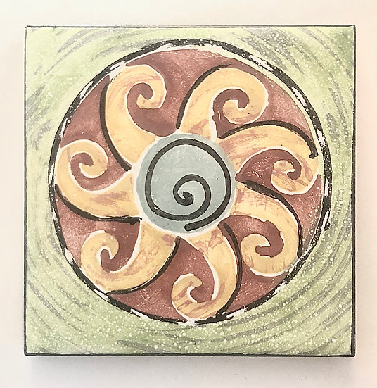 "4 1/4"" Sun Wave Decorative Ceramic Tile A6"