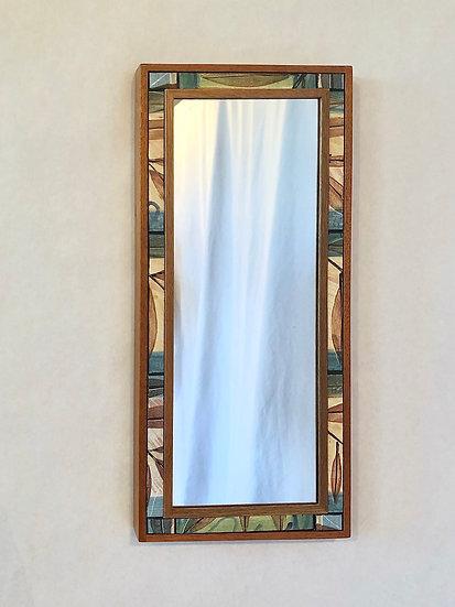 "9"" x 20"" Twig & Leaf Ceramic Tile and Wood  Mirror"