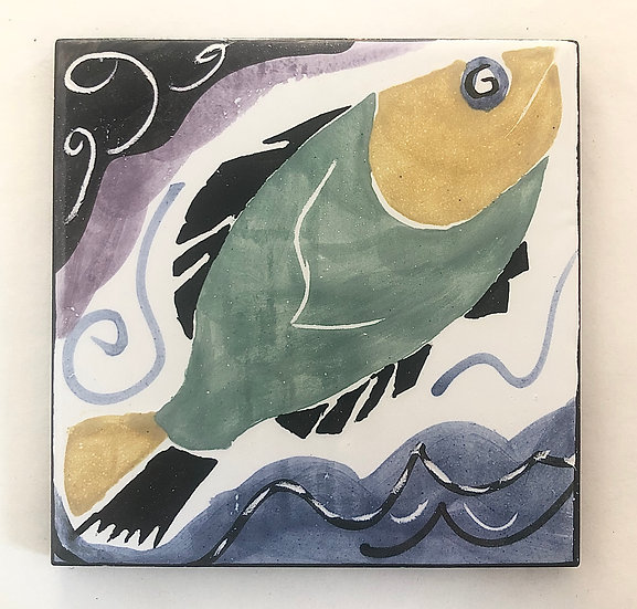 "6"" Square Big Fish Decorative Ceramic Tile"