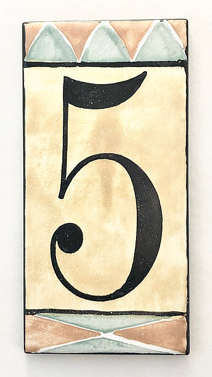 "3"" x 6"" Deep Gold House Number ""5"""