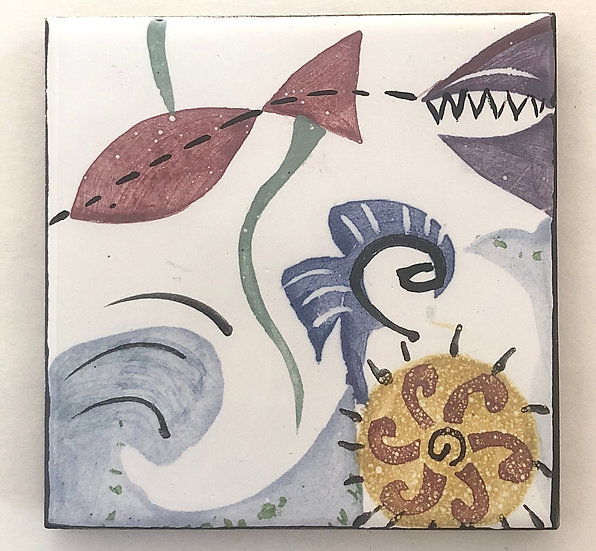 "4 1/4"" Fish Wave Decorative Ceramic Tile 1G"