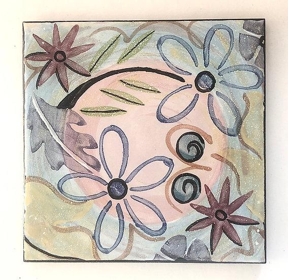 "6"" Square Cottage Floral Decorative Ceramic Tile"