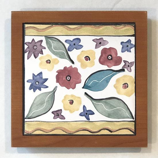 Multi-Flower Tile and Wood Frame