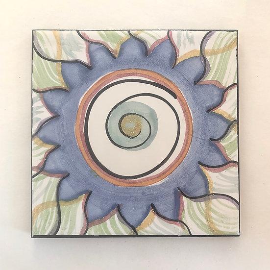 """6"""" Square Blue Dahlia Decorative Ceramic Tile A1"""