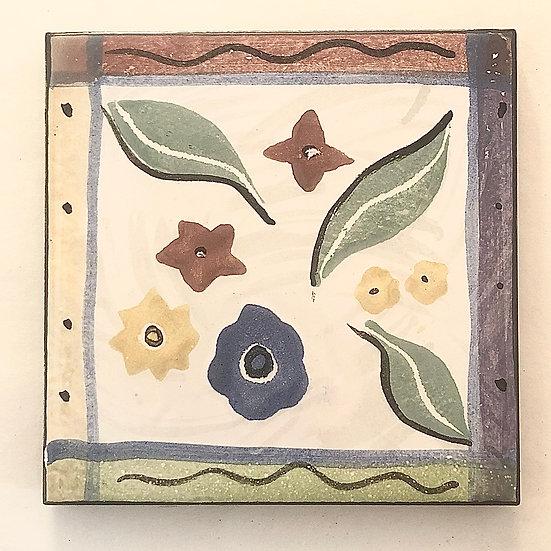 """4 1/4"""" Multi Leaf Floral Decorative Ceramic Tile A6"""