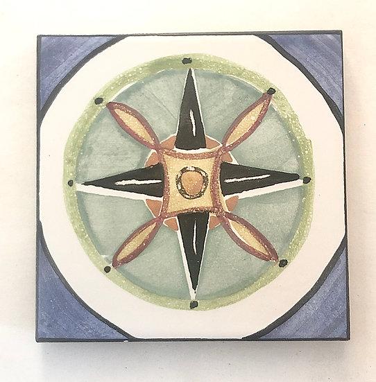 """4 1/4"""" Compass Decorative Ceramic Tile A7"""