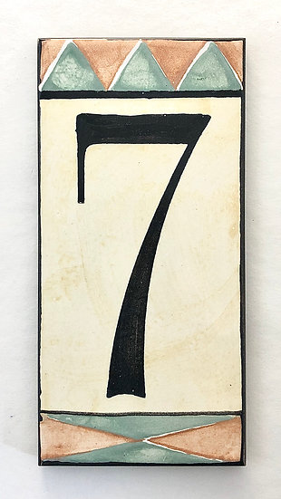 """3"""" x 6"""" Pale Yellow House Number """"7"""""""