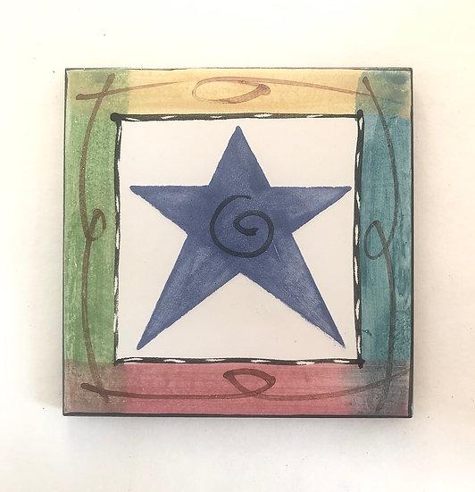 "6"" Square Star Varietal Decorative Ceramic Tile"