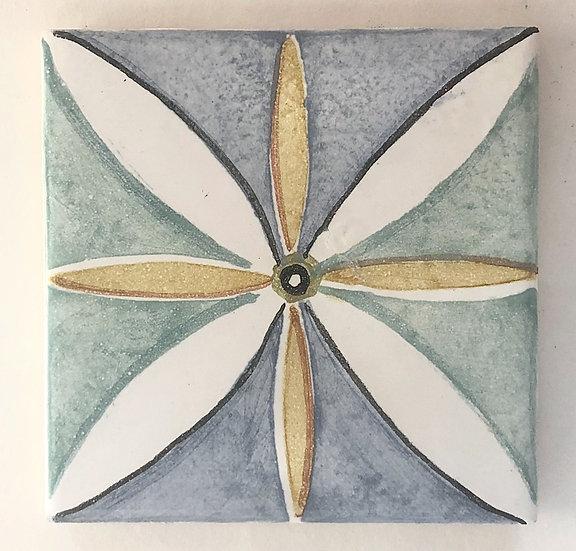 """4 1/4"""" Multi Leaf Decorative Ceramic Tile A7"""
