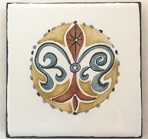 """4 1/4"""" Fleur de lis Decorative Ceramic Tile A2"""