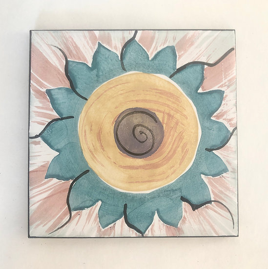 "6"" Square Peacock Dahlia Decorative Ceramic Tile A1"