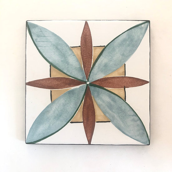 "6"" Square Peacock Leaves Decorative Ceramic Tile A1"