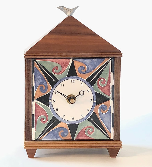 Compass Multi-Colored Table Clock