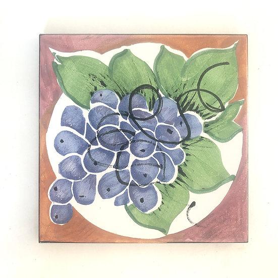 "6"" Square Grapes Decorative Ceramic Tile A1"