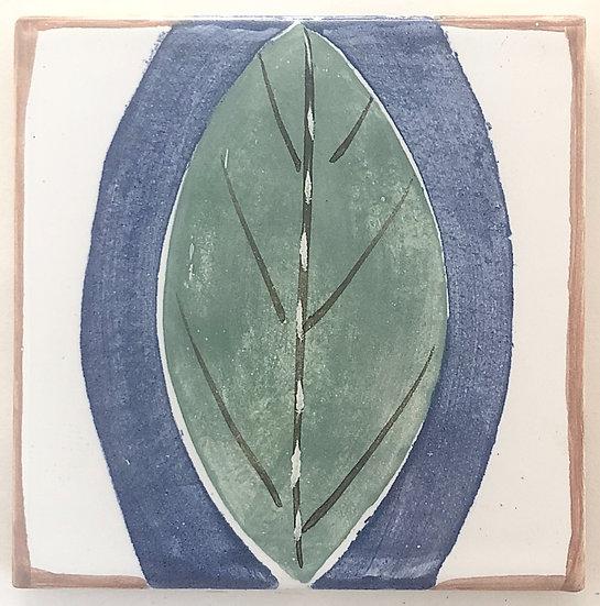 "4 1/4"" GREEN LEAF Decorative Ceramic Tile A1"